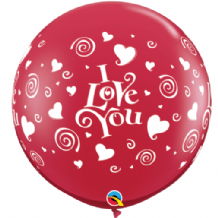 3ft Giant Balloons -  Red (Love You Swirls) 3ft Balloon 2pc